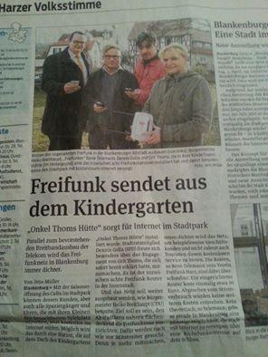 Stadtpark in Blankenburg hat jetzt auch Freifunk